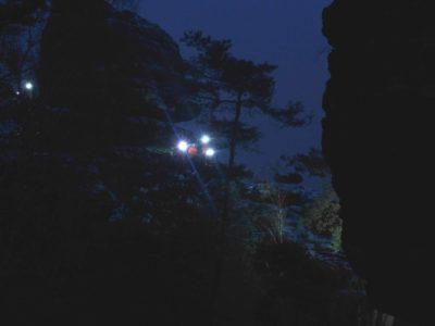 Nachtbesteigung der Bergfinken auf die Große Hunskirche zum Filmdreh